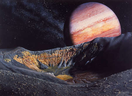 Illustration of a caldera on Io, a satellite of Jupiter, with Jupiter in the background. Io is the most volcanically active celestial body in the solar system. A caldera is a large crater created by a collapsed volcano after a huge erruption. This depiction was inspired by Ubehebe Crater in Death Valley, California.