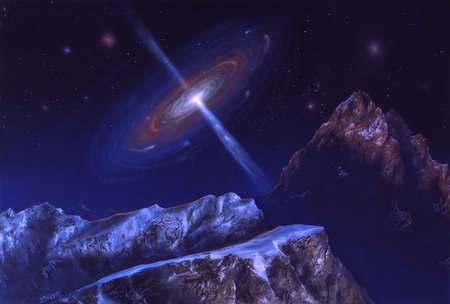 Illustration of a quasar, viewed from an icy, rocky celestial body. Quasars (quasistellar objects, originally known as quasistellar radio sources), are very distant starlike bodies that have extremely high energy outputs.