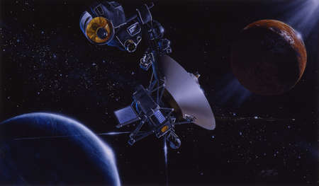 Illustration of the Voyager 2 encounter with Neptune and Triton, Neptune's largest satellite.