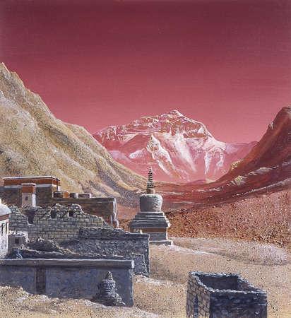 Illustration of ruins around Mount Everest under a pink sky.