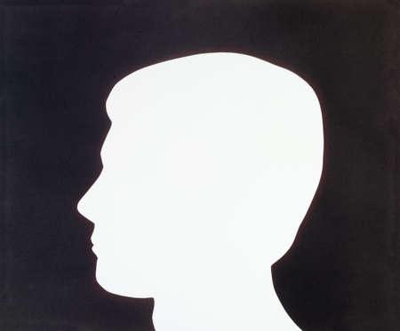 Black and white illustration of a male head silhouette.