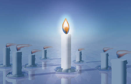 Conceptual illustration of candles in the wind, with the central one burning upright.