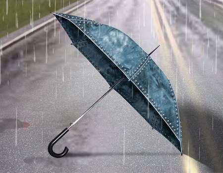 Conceptual illustration of an armored umbrella in the middle of an empty street on a rainy day.