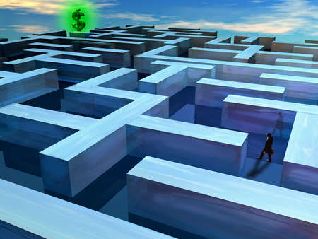 Illustration of a man wandering through a maze with a dollar sign at the end.