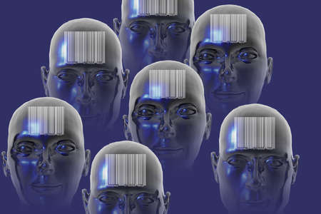 Illustration of people with bar codes on their foreheads, representing the dehumanization of the individual.