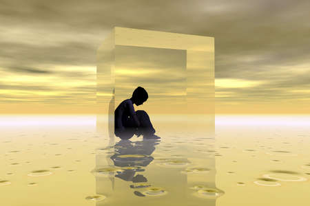Illustration depicting a feeling of isolation due to autism or other causes.