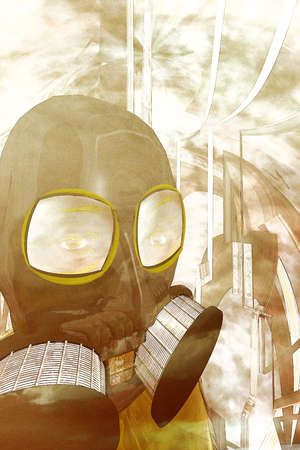 Illustration of an aftermath: a person in a gas mask.