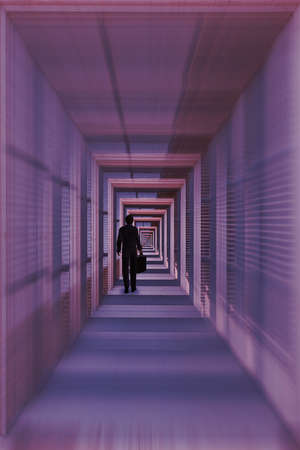 Illustration of a long and lonely walk: a businessman walking through an endless tunnel.