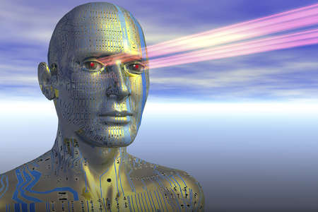 Illustration of artificial intelligence: an android with laser scanning vision.