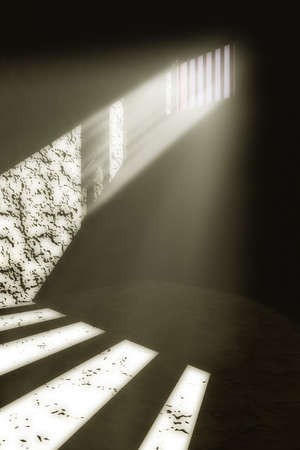 Illustration of a prison cell, with sunbeams streaming through the bars in the window.