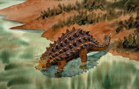 Illustration of euplocephalus, a heavily armored, herbivorous ankylosaurid of the Late Cretaceous period.