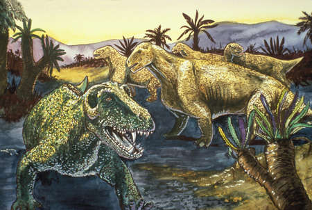 Illustration of a moschops (right) and a titanophoneus (left). Moschops was a large, plant-eating therapsid that lived over 250 million years ago, during the late Permian period. Titanophoneus, a carnivorous therapsid, is considered the top predator of the same period.