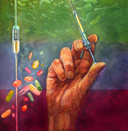 Conceptual illustration of antibiotics: a hand holding a syringe filled with liquid antibiotics, a hanging IV drip with liquid medication, and various floating pills are all poised beneath a gathering cloud of many different bacteria.