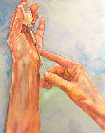 Illustration of a person's hands drawing liquid into a syringe from a vial.