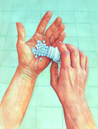 Illustration of a person's hands shaking pills out of a medication bottle. One hand is holding the bottle, and the person is pouring the pills into the open palm of the other hand.