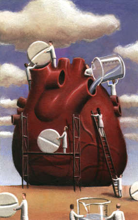 Doctors maintaining the health of a heart with medication, under a blue sky.
