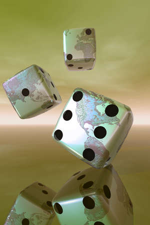Illustration of dice with continents on their surfaces.