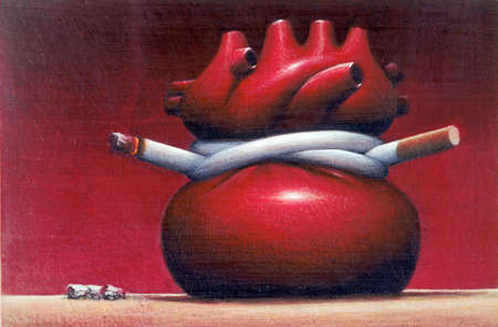 Medical illustration showing the effect of smoking on the heart.