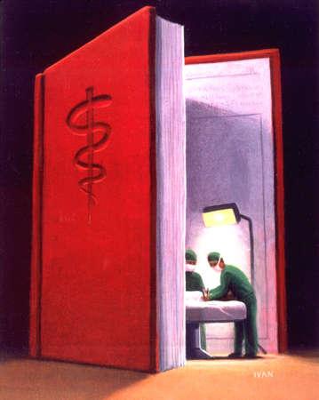 Medical illustration of doctors operating inside open medical book.