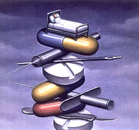Medical illustration of bed on top of pills, capsules, scalpel, and needles.