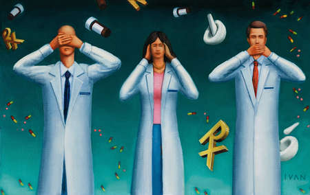 Doctors and nurse surrounded by floating Rx symbols, mortars and pestles and pills respond with see no evil; hear no evil and speak no evil gestures.