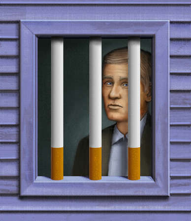Man behind cigarette prison bars.