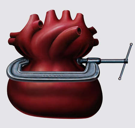 Heart in vise.