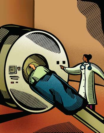 Doctor putting a patient through a CT scanner