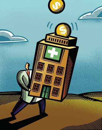 Doctor carrying a hospital piggy bank, collecting money