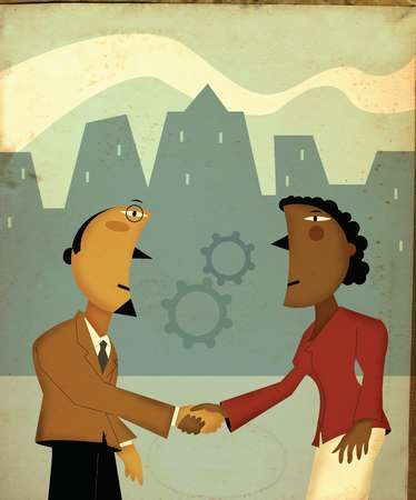 Business people shaking hands underneath gears