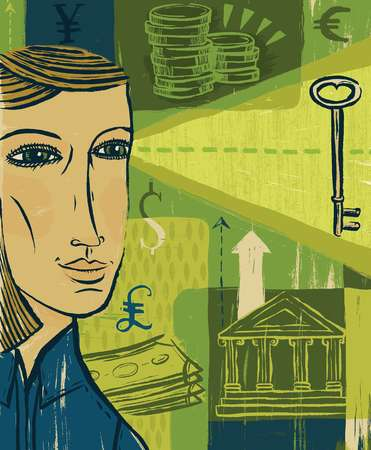 A woman looking at a key, against a collage of a bank and money of different currencies
