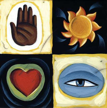 Collage of a hand, the sun, an eye, and a heart