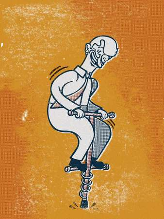 Drawing of a businessman on a pogo stick