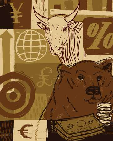 A bear and a bull with currency symbols in the background
