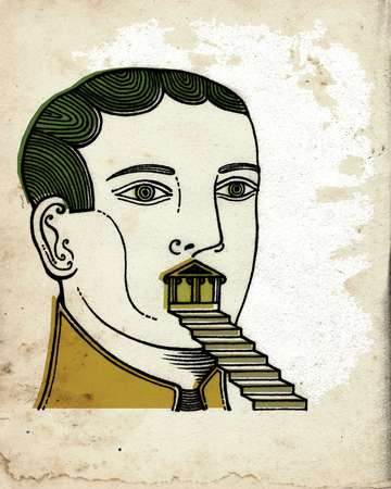 A man with a set of stairs coming out of his mouth