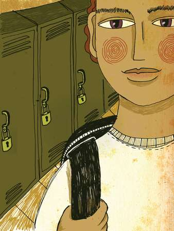 A teenage boy standing beside his school locker