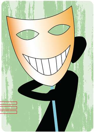 Silhouette of a man looking out from behind a large smiling mask