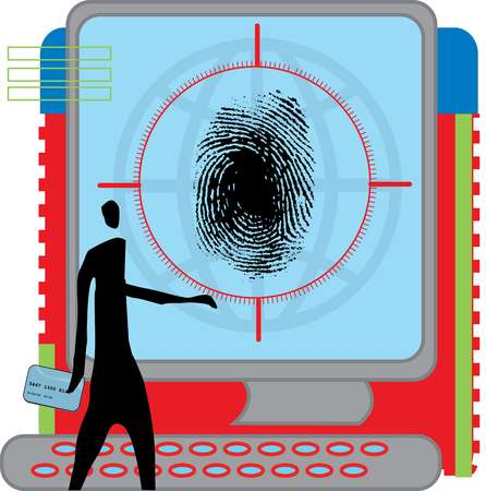 Silhouette of a man holding credit card and looking at a large screen with fingerprint