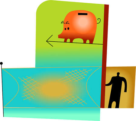 Illustration of a piggy bank jumping into a safety net