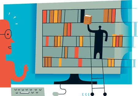 A computer screen with bookshelves and a man on ladder leaning against it to symbolize an online librarian