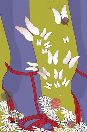 Closeup of womans feet in red high-heeled shoes and purple tights, surrounded by butterflies and flowers