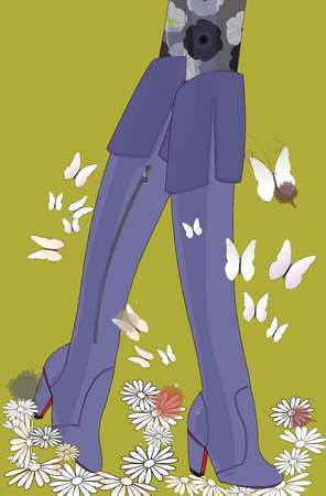 Closeup of a womans legs in purple knee-high boots, surrounded by butterflies and flowers