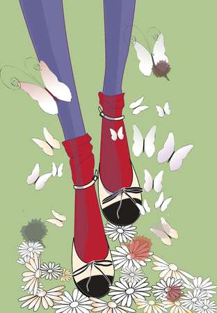 Closeup of a womans legs in red socks, purple tights, and black and white shoes, surrounded by butterflies and flowers