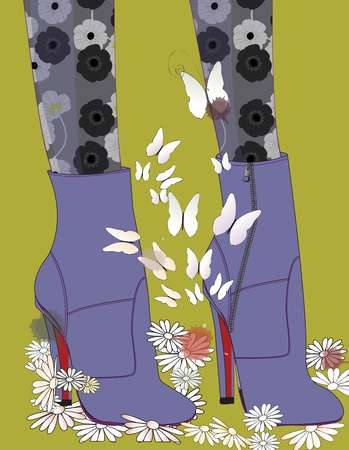 Closeup of a womans feet in purple ankle boots and floral tights, surrounded by butterflies and flowers