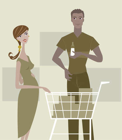 A pregnant woman and man shopping for baby items