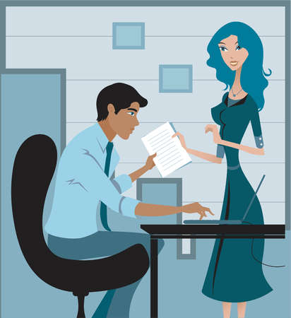 A woman handing over report to male colleague at office