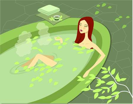 Stock Illustration - High-angle view of a woman soaking in bath tub