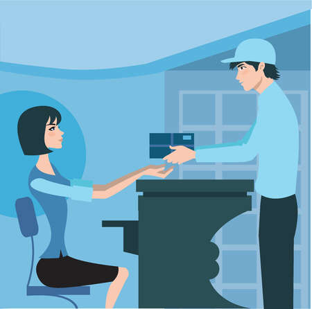 Side view of a delivery man handing a package to the receptionist