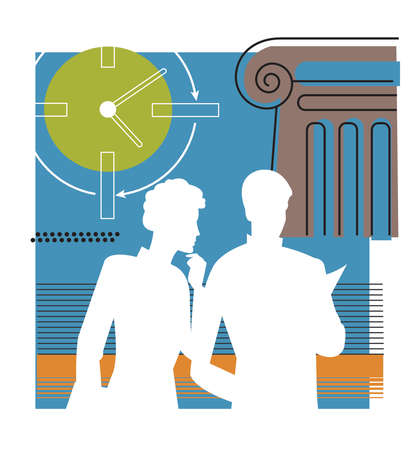 Silhouette of two people discussing documents