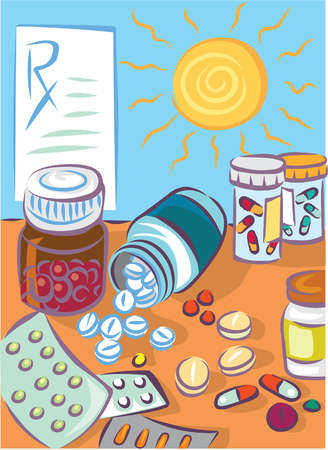 Various types of pills and a prescription